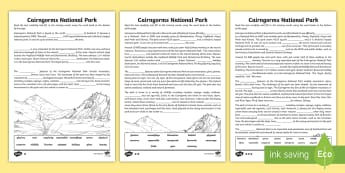 CfE Second Level The Cairngorms Cloze Passage Differentiated Activity Sheet - cloze reading, cloze passage, scotland, reading, cfe, 2nd leel, second level, worksheet, activity sh
