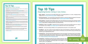 Elderly Care Voting Top Tips - Voting, Ideas, Support, UK, Democracy, Activity Co-ordinators, Care Homes, Community.