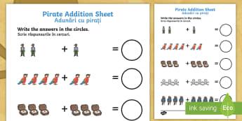 Pirate Addition Activity Sheet English/Romanian - Pirate Addition Sheet - pirate, pirates, pirate addition, pirate addition worksheet, pirate counting