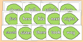 KS1 Keywords on Spring Leaves - KS1, CLL, Communication language and literacy, Display, Key words, high frequency words, foundation stage literacy, DfES Letters and Sounds, Letters and Sounds, spelling