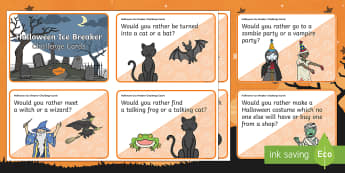 KS1 Halloween Ice Breaker Cards - PSHCE, discussion, ideas, opinions, y1 and y2