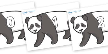 Numbers 0-31 on Pandas - 0-31, foundation stage numeracy, Number recognition, Number flashcards, counting, number frieze, Display numbers, number posters