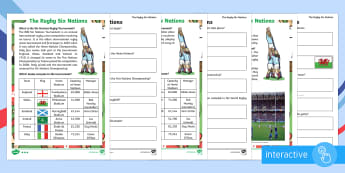Rugby Six Nations  Differentiated Comprehension Go Respond Activity Sheets - Rugby Six Nations, 4th February 2017, rugby, union, team, Championship, tournament, competition, win
