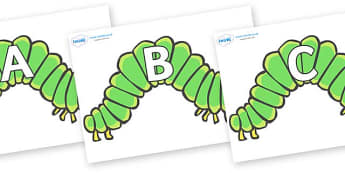 A-Z Alphabet on Hungry Caterpillars - A-Z, A4, display, Alphabet frieze, Display letters, Letter posters, A-Z letters, Alphabet flashcards