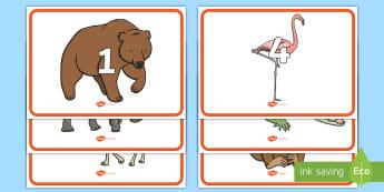 Zahlen 1 20 auf Zootieren für die Klassenraumgestaltung  - Zoo, Zootiere, Zählen, Zahl, 1-20, zählen lernen, Zahlenreihenfolge, Tiere, Tier, lernen, Mathemat