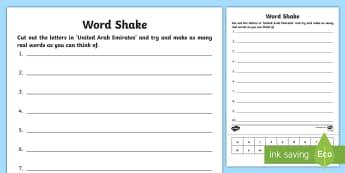 UAE Word Shake Activity Sheet - UAE KS1, transition, worksheet, word work, vocabulary, key words, word building,