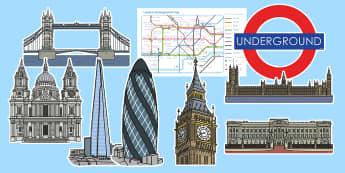 London Themed Display Cut-Outs - London Display Photo Cut Outs - london, britain, photo, cut outs, paddington bear, big ben, london b