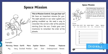 Creating a Mnemonic for the Order of the Planets Activity Sheet - Back to Earth with a Bump, space, planets, night and day, dark, sun, Mars, worksheet, moon, stories,