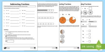 Adding and Subtracting Fractions Homework Task with Parent Support Activity Pack  - homework, add and subtract fractions, year 3 fractions, bar model fractions, pizza fractions, differ
