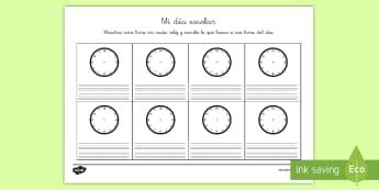 Ficha de actividad: Mi día escolar - horario, día escolar, escuela, hora, horas, tiempo, reloj, relojes, analógicos, analógico, ficha,