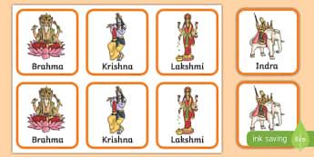 Hindu Gods Snap Cards Activity