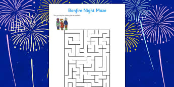 Bonfire Night Maze Activity Sheet - Bonfire Night Maze Activity Sheet, bonfire night, bonfire, Guy Fawkes, bonfire, maze, activity, sheet, worksheet, Houses of Parliament, plot, treason, fireworks, Catholic, Protestant, James I, November the 5th, 5th