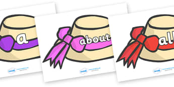 100 High Frequency Words on Summer Hats - High frequency words, hfw, DfES Letters and Sounds, Letters and Sounds, display words