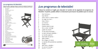 Name the TV Programme Activity Sheet Spanish - translation, dictionary, skills, worksheet, culture, television