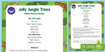 Jungle Trees Edible Sensory Recipe - Jungle and Rainforest, sensory play, edible play, trees, plants