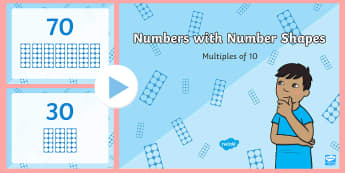 Numbers With Number Shapes Multiples of 10 PowerPoint - Numbers with Number Shapes Multiples of 10 Display Posters - tens, 10s, numbers, number shapes, 10-1