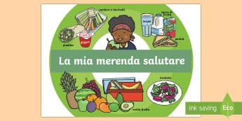 Una Merenda Salutare Poster - poster, merenda, alimentazioni, alimenti, cibo, salute, salutare, italiano, italian