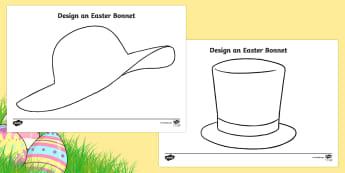 Easter Hat Design Activity Sheet- Easter, design, Easter Hat,  bonnets, hats, fabric and fibre, hat,