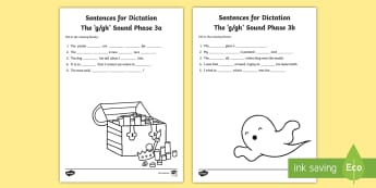 Northern Ireland Linguistic Phonics Stage 5 and 6, Phase 3a and 3b, g, gh Dictation Sentences Activity - Linguistic Phonics, Stage 5, Stage 6, Phase 3a, Phase 3b, Northern Ireland, sentences, dictation, wo