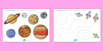 Space Themed Pencil Contol Sheets - worksheets, worksheet, work sheet, space, space worksheets, space pencil control, space pencil control activity, outer space, in space, moon, sun, stars, space themed, space theme, sheets, activity, writing fra