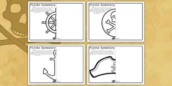 Pirate Symmetry Worksheets - pirate, symmetry, worksheets, sheet