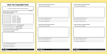 Three-Digit Numbers  Expanded Form in Base Ten Blocks Activity Sheet - Number, Place Value, dienes,  problem solving, maths mastery, year 3, fun maths, hundreds, tens, one
