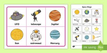 Outer Space Bingo - Outer Space, bingo, space, vocabulary, universe, galaxy, game