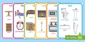Obiecte din diferite încăperi ale casei Planșe - locuința, casa mea, obiectele din casă, comunicare, viața de zi cu zi, Romanian