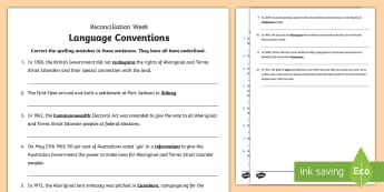 National Reconciliation Week Spelling Activity Sheet - Australia English National Reconciliation Week 27 May - 3 June, Worksheet, Year 3, Year 4, Year 5, Y