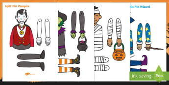 Halloween Split Pin Activity Pack - craft, activities, trick or treat, autumn craft, eyfs, ks1