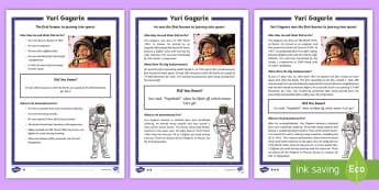 KS1 Yuri Gagarin  Differentiated Fact File - Space Week, World, Information, Non-fiction, Astronaut, Space