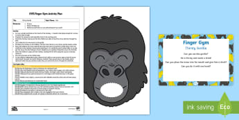 EYFS Thirsty Gorilla Finger Gym Plan and Resource Pack - zoo, animals, wild animals, fine motor control, funky fingers, finger gym, threading