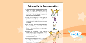 PlanIt PE Year 3 Dance Extreme Earth Home Learning Tasks -  Dance Extreme Earth, PE, Physical Education, Movements Emotions, Feelings, Effects of Natural Disas