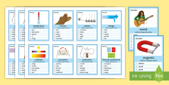 Energy Transfers Can You Guess? Cards - Energy, Transfer, Store, Thermal, Conduction, Convection, Radiation, Kinetic, Chemical, Gravitationa