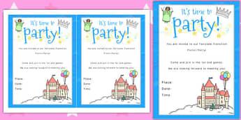 Fairytale Themed Picnic and Party Invitation - invitation, fairytale