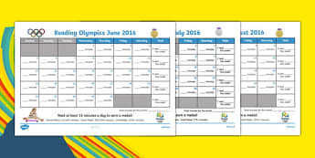 Summer Reading Olympics Calendars Month to a Page Calendar