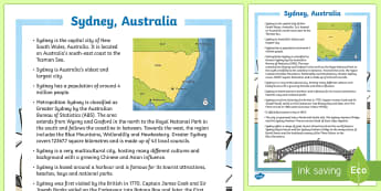 Sydney Australia Fact File-Australia - Sydney Australia, fact file, facts, sydney, australia, information, reading, talking, listening, com