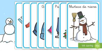 Póster: Vocabulario de invierno  - frio, invierno, las estaciones del año, las estaciones, invernal, proyectos, temarios,Spanish