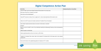 Digital Competence Action Plan Planning Template - DCF, dcf, digital competence, framework, wales, Wales, ICT, ict, planning, action plan, Foundation P