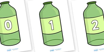 10 Green Bottles Display Posters - Number rhyme, green bottles, nursery rhyme, numeracy, numbers, counting, foundation stage numeracy