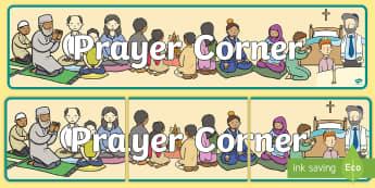 Prayer Corner Banner - pray, praying, religion, religious, area,