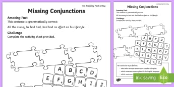 Missing Conjunctions Activity Sheet - amazing fact july, literacy, sentences, KS1, year 1, year 2, worksheet