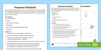 Pentecost Windmill Activity - CfE Catholic Christianity, Pentecost, Holy Spirit,Scottish