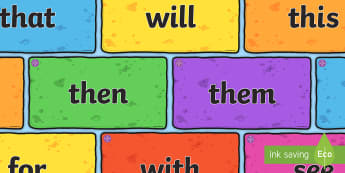 Middle East Phase 2 and Phase 3 High Frequency Words on Multicoloured Bricks Resource Pack - reading, writing, display, phonics, uAE