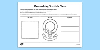Researching Scottish Clans Activity Sheet - cfe, research, researching, scottish clans, activity, worksheet