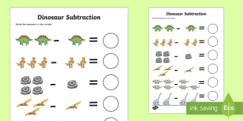 Dinosaur Themed Subtraction Sheet - subtract, take away, numeracy, Subtraction, dinosaur, one digit, numeracy, numbers, subtraction, single digit, dinosaurs