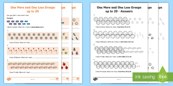 One More or One Less Groups Activity Sheet - One More or One Less Flowers Counting - flowers, counting, count, countng, couting, fewer, coutning,