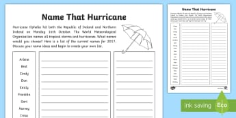 Name that Hurricane Activity Sheet - weather, northern ireland, adverse weather, extreme, school closures, worksheet