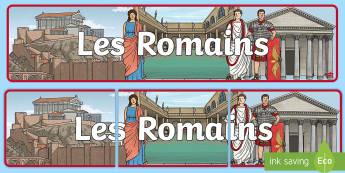 Bannière : Les romains Banderole d'affichage - Rome, romains, romans, nombres romains, roman numbers, maths, mathématiques, histoire, history, ant