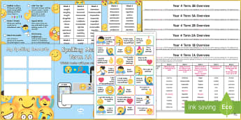 Year 4 Emoji Themed Spelling Menu Pack - spag, gps, home learning, weekly, lists, test